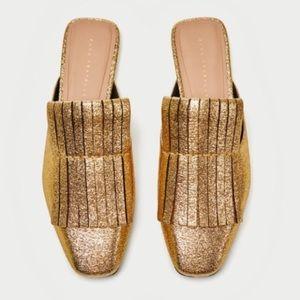Zara gold slide flats mules NWT